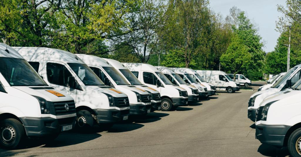 Fleet of trucks in parking lot
